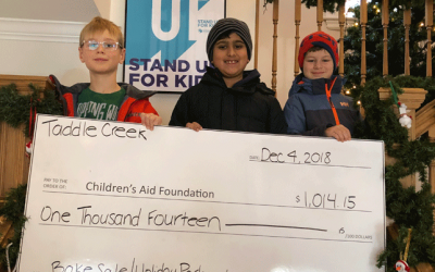 Taddle Creek students with cheque