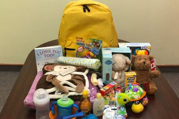 Backpack with baby supplies