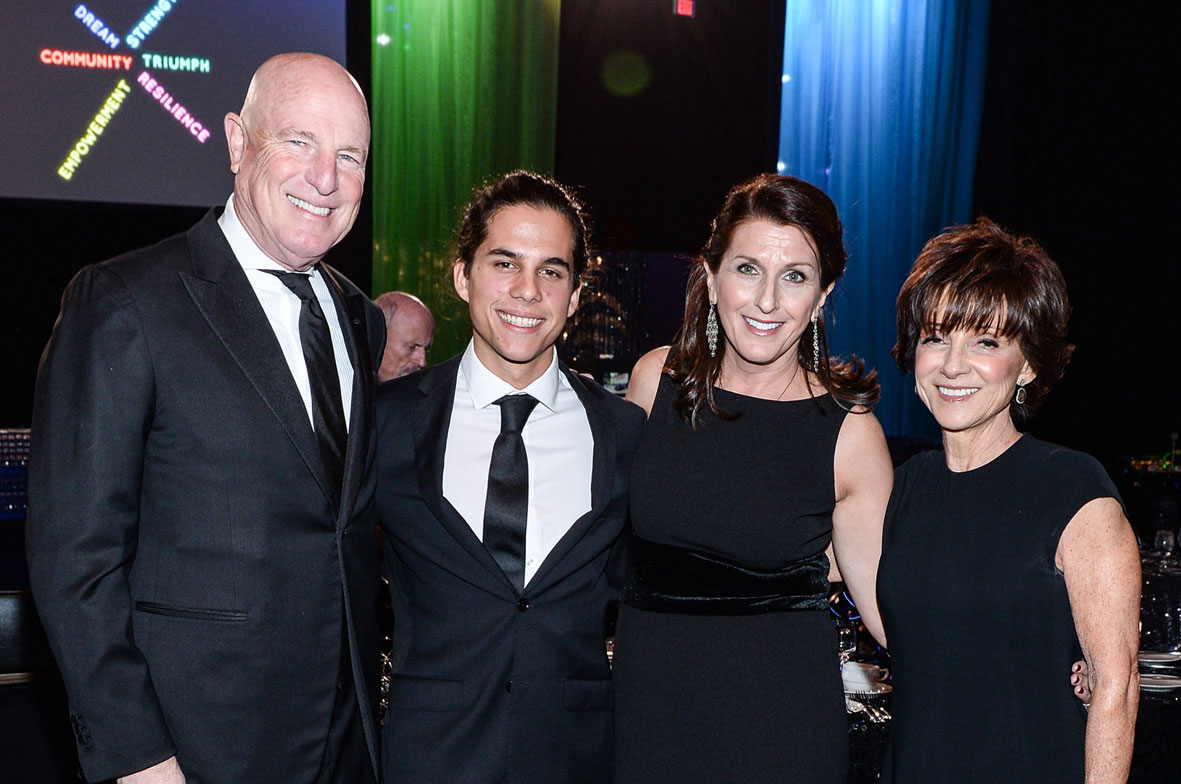 Children's Aid Foundation of Canada President and CEO, Valerie McMurtry, with Gala Honorary Chairs Lynn & Brent Belzberg and youth speaker Dylan